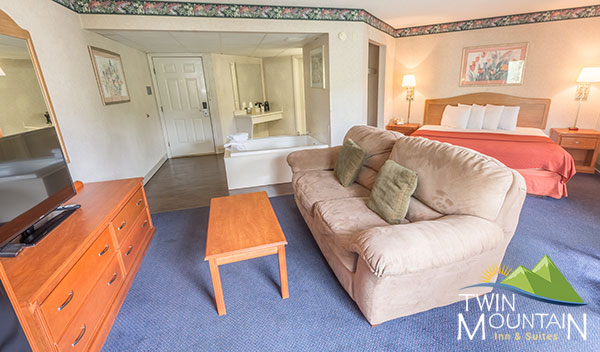 A King hotel suite at Twin Mountain Inn & Suites in Pigeon Forge