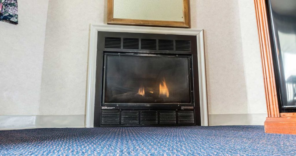 Toasty fireplace in hotel suite