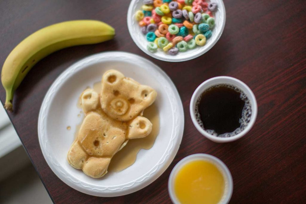 Breakfast items at Twin Mountain Inn & Suites in Pigeon Forge