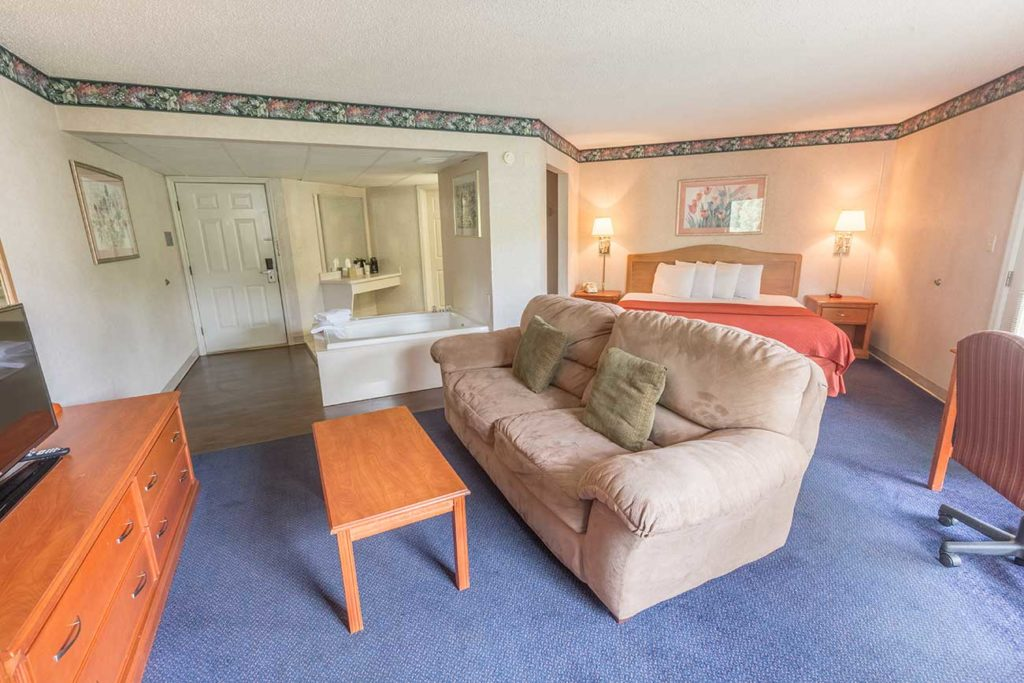 Spacious hotel room at Twin Mountain Inn & Suites