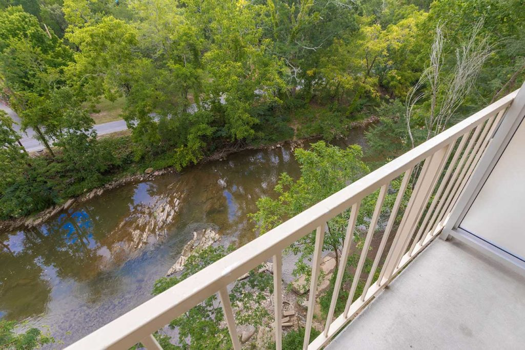 View of Pigeon River from hotel balcony