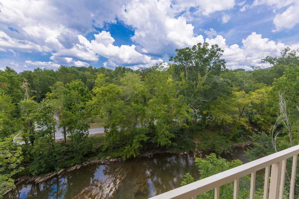 Hotel balcony overlooking the Pigeon River